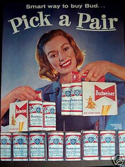 Budweiser Pick a Pair 6 Pack Cans Beer (1960)