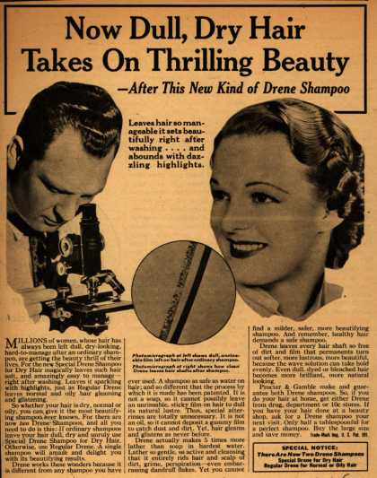 Procter & Gamble Co.'s Drene Shampoo – Now Dull, Dry Hair Takes On Thrilling Beauty -After This New Kind of Drene Shampoo (1938)