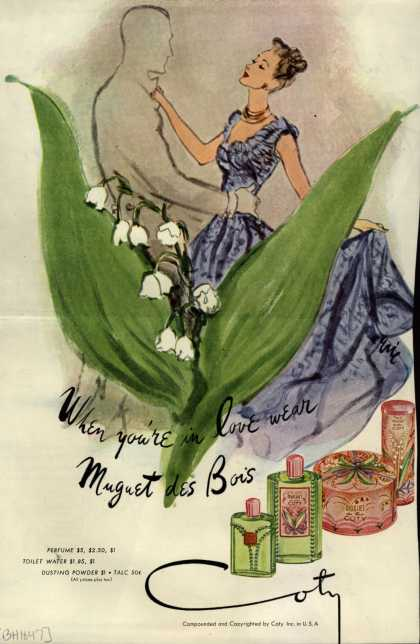 Coty's Muguet des Bois Cosmetics – When you're in love wear Muguet des Bois (1947)
