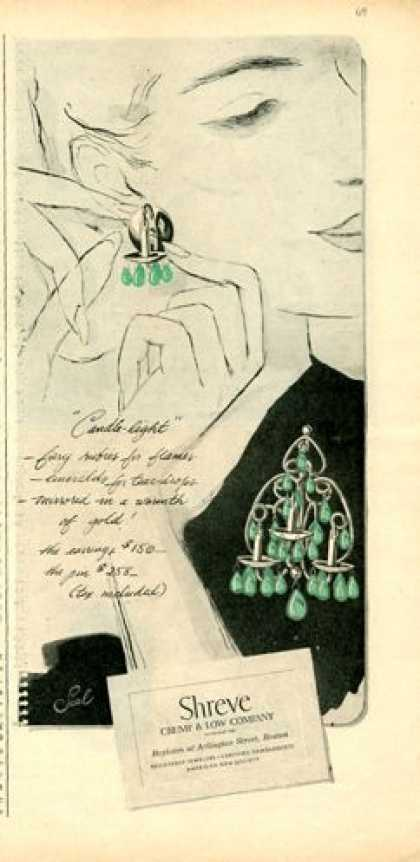 Shreve Candle Light Emerald Ear Rings (1946)