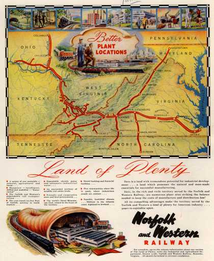 Norfolk and Western Railway's Better Plant Locations – Land of Plenty (1948)