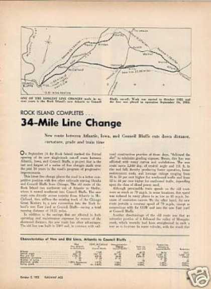 """Rock Island Completes 34-mile Line Change""Article (1953)"