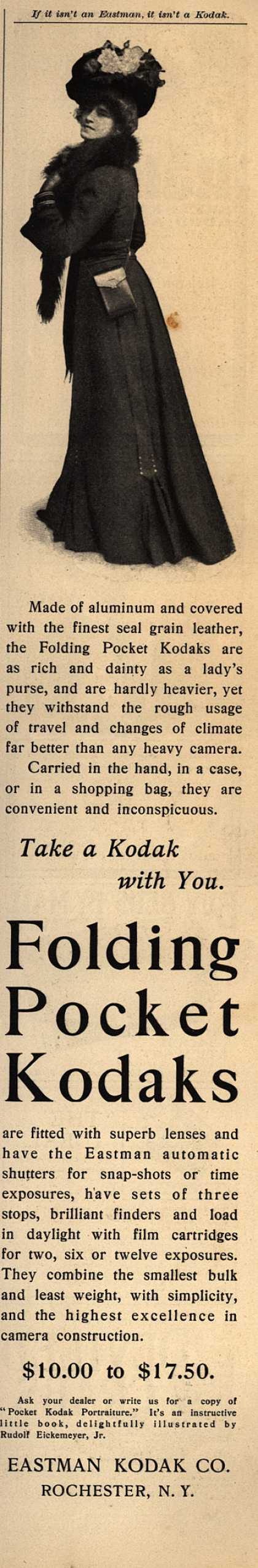 Kodak&#8217;s Folding Pocket cameras &#8211; Take a Kodak with You. Folding Pocket Kodaks (1901)