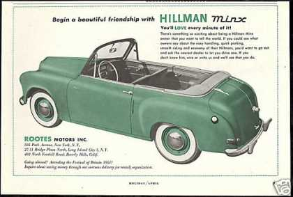Hillman Minx Convertible Car Photo Rootes (1951)