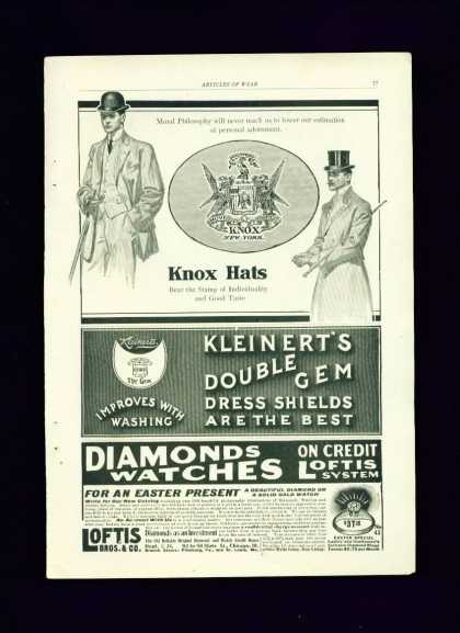 Knox Hats C 1/2 Pg Ad – Dapper Dandy Men With Hats (1910)