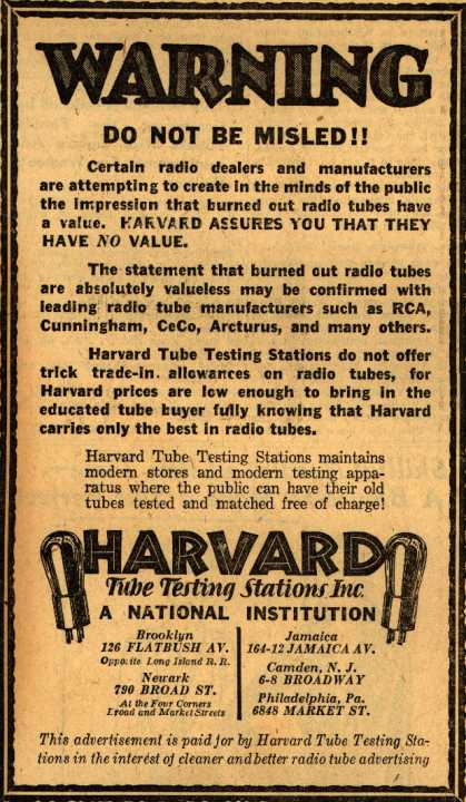 Harvard Tube Testing Station's Radio Tubes – Warning, Do Not Be Misled (1930)