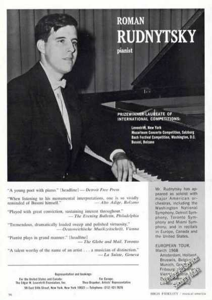 Roman Rudnytsky Photo Rare Ad Music Piano (1967)