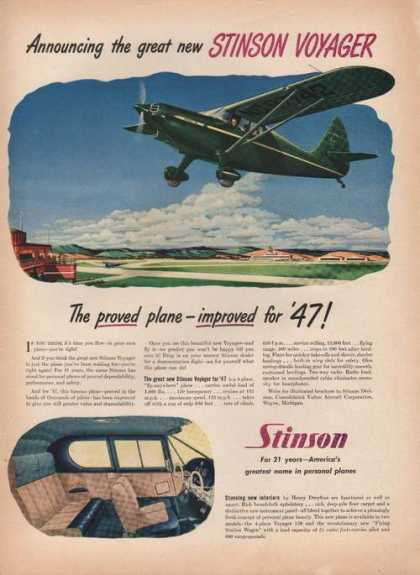 Great New Stinson Voyager Airplane (1946)