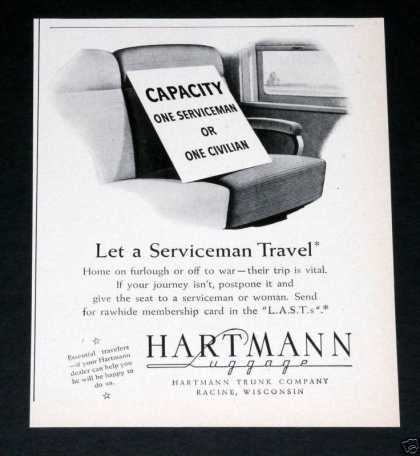 Old , Hartmann Trunk Luggage, Wwii (1943)
