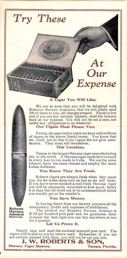 J. W. Roberts & Son.'s Cigars – Try These at our expense