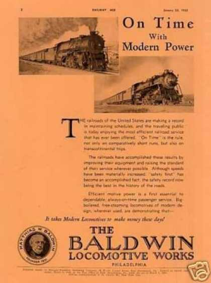 "Baldwin Locomotive Ad ""On Time With Modern... (1932)"