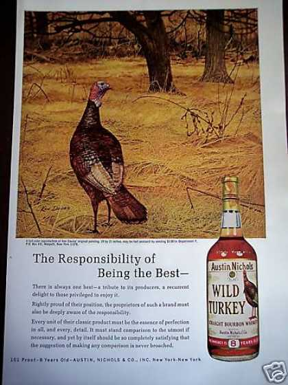 Wild Turkey Art By Ken Davies Bourbon Whiskey (1969)