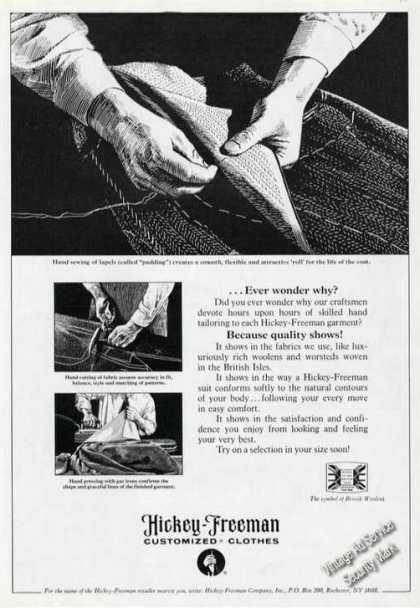 Hickey-freeman Clothes Ad Hand Sewing Art (1977)