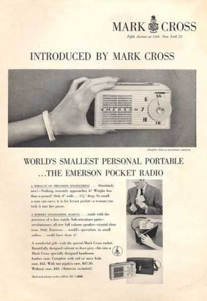 Mark Cross Emerson Portable Minature Radio (1953)