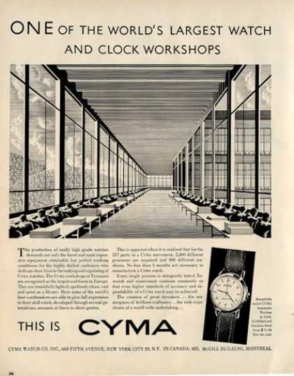 Cyma Automatic Watch Clock Workshop (1950)