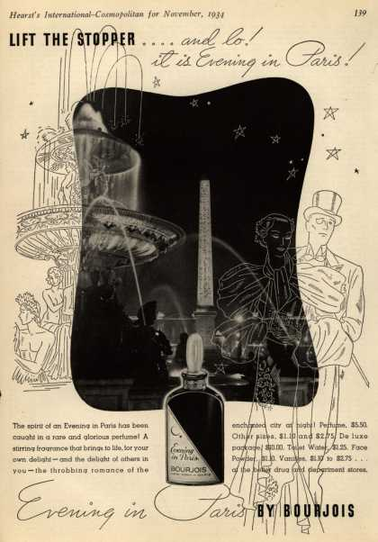 Bourjoi's Evening in Paris Cosmetics – Lift The Stopper...and lo! it is Evening in Paris (1934)