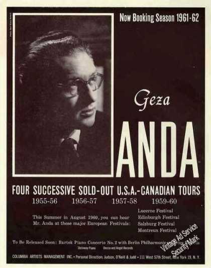 Geza Anda Photo Pianist Booking (1960)