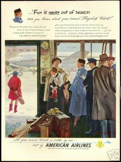 American Airlines Flagship Travel Vintage Art (1949)