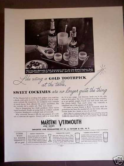 Martini Vermouth Recipes for Mixed Drinks (1934)