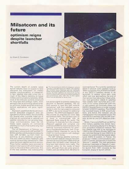 Milsatcom Military Satellite Communication Article (1988)