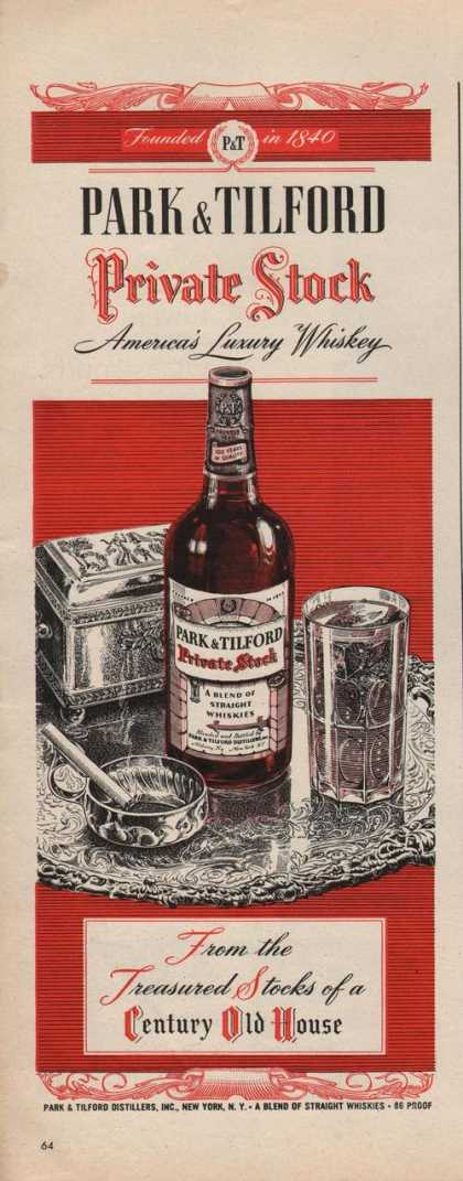 Park & Tilford Private Stock Whiskey (1942)