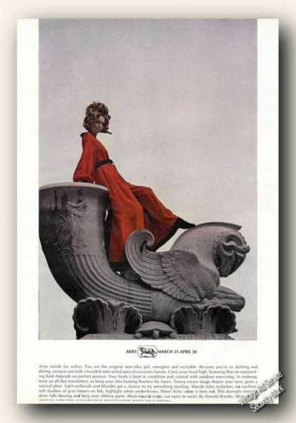 Aries Horoscope Theme Fashion Advertising Rare (1969)