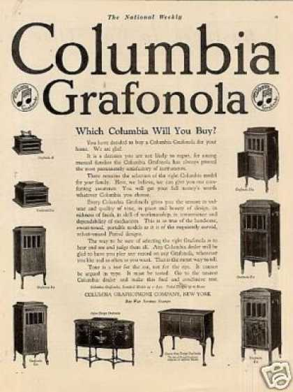 Columbia Grafonola Phonographs (1918)