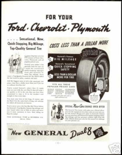 General Dual 8 Car Tire Ford Chevrolet Plymouth (1938)