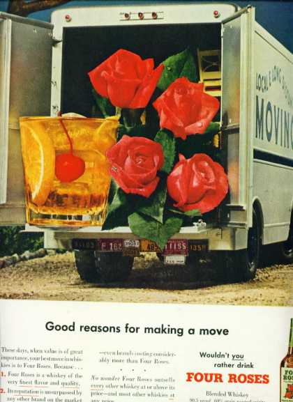 Four Roses Fine Blended Whiskey Ad Roses In Moving Van