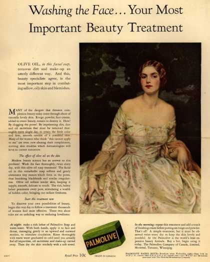 Palmolive Company's Palmolive Soap – Washing the Face...Your Most Important Beauty Treatment (1929)