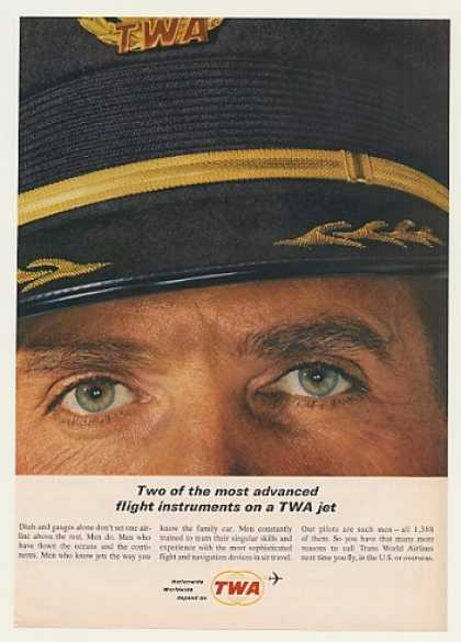TWA Airlines Pilot Eyes Flight Instruments (1963)