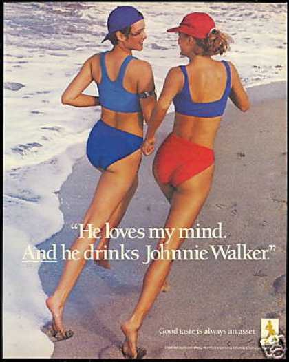 Pretty Joggers Beach Johnnie Walker Scotch (1988)