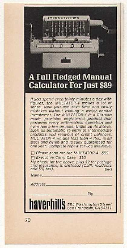 Multator-4 Manual Calculator Haverhill's (1970)