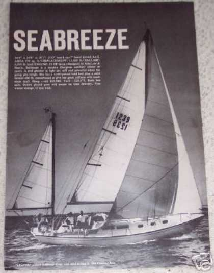 Original Boat Ad Seabreeze Sloop Sail Race (1964)