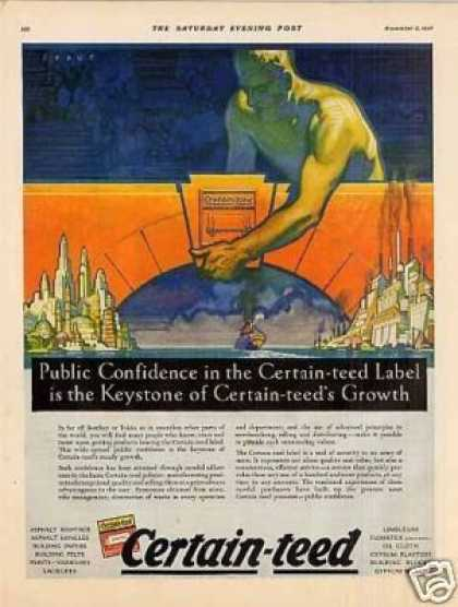 Certain-teed Products Color Ad Paus Art (1927)