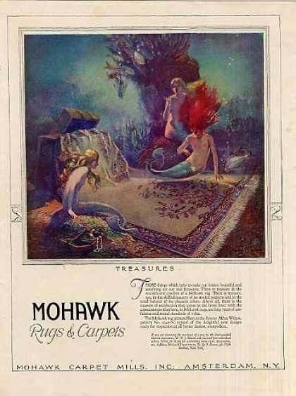 Mohawk Rugs Color Ad Nice Art (1927)