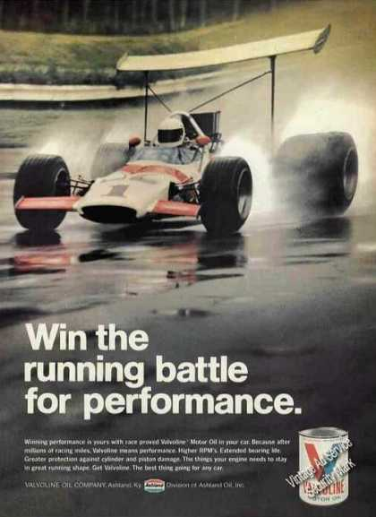 Valvoline Racing Car On Track Photo (1970)