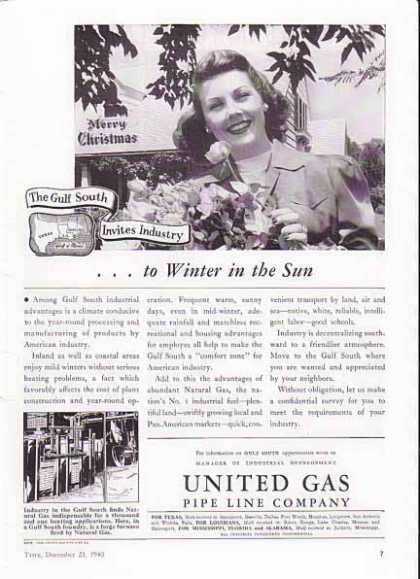United Gas Christmas – Invite to Winter in the Sun (1940)