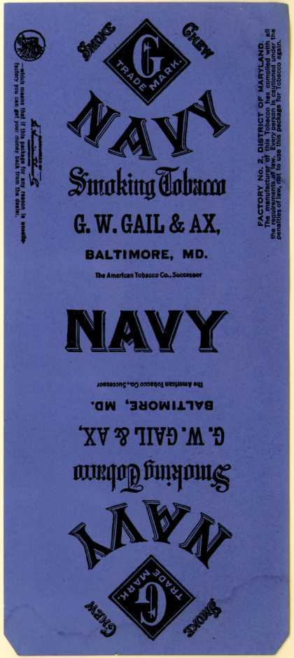 G. W. Gail & Ax's Smoking Tobacco – Navy