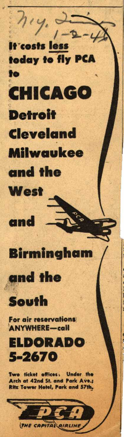 PCA's various destinations – It costs less today to fly PCA (1946)