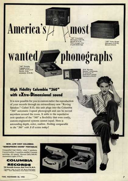 "Columbia Record's Phonographs – America's Most Wanted Phonographs. High Fidelity ""360"" with eXtra-Dimensional Sound. (1953)"
