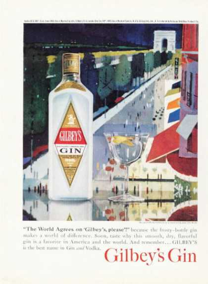 Gilbey's London Gin Champs Elysees Paris (1961)