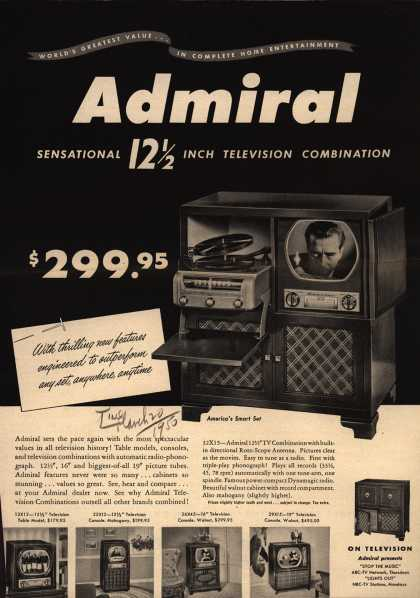 Admiral Corporation's Television Combinations – tv, radio, phonograph – Admiral Sensational 12 1/2 Inch Television Combination (1950)