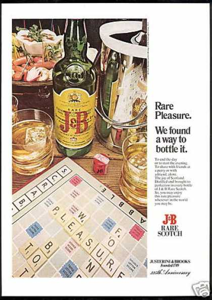 Scrabble Crossword Board Game J&B Scotch (1975)