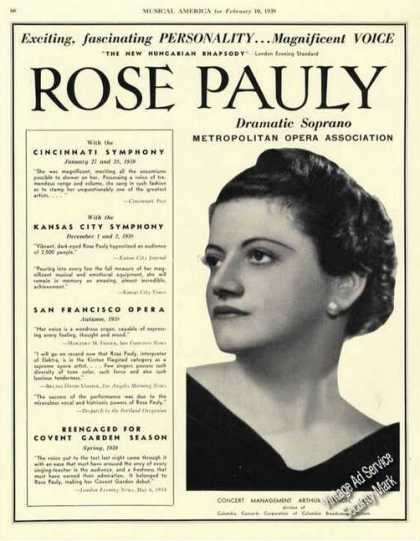 Rose Pauly Photo Rare Ad Soprano Opera (1939)