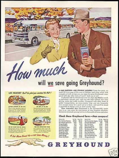 Greyhound Bus Travel Save How Much (1949)
