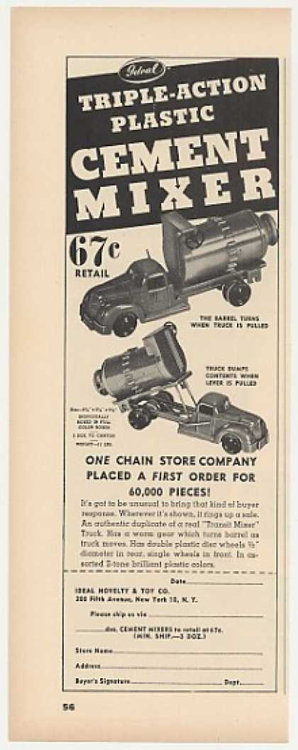 Ideal Plastic Cement Mixer Toy Truck Trade (1947)