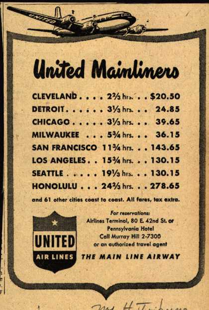 United Air Line's Mainliners – United Mainliners (1947)