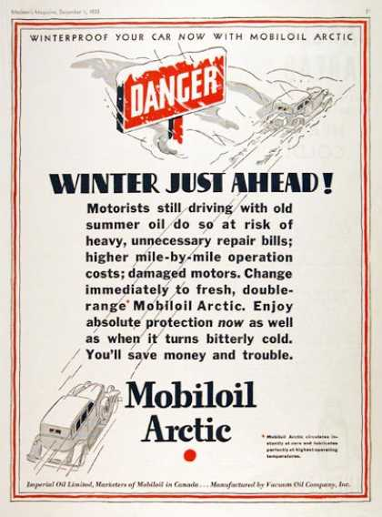 Mobiloil Winter Motor Oil (1933)