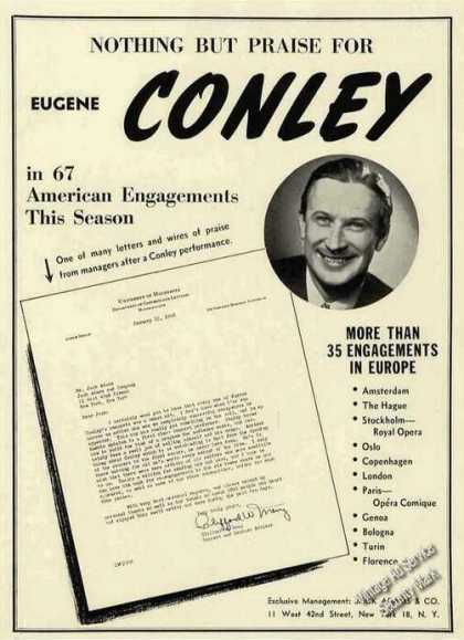 Eugene Conley Photo Opera Booking (1948)